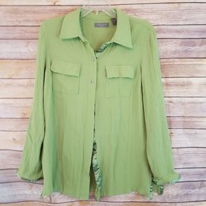 Kate Hill Long Sleeve Button Front Top